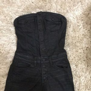 Black strapless romper from Guess